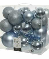 Feest 26 stuks lichtblauwe kerstballen 6 8 10 cm kunststof