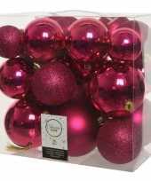 Feest 26x stuks bessen roze kerstballen 6 8 10 cm kunststof
