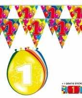 Feest 2x 1 jaar vlaggenlijn ballonnen