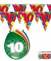 Feest 2x 10 jaar vlaggenlijn ballonnen