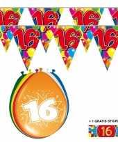 Feest 2x 16 jaar vlaggenlijn ballonnen