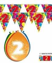 Feest 2x 2 jaar vlaggenlijn ballonnen