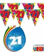 Feest 2x 21 jaar vlaggenlijn ballonnen