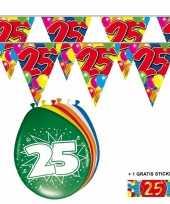 Feest 2x 25 jaar vlaggenlijn ballonnen