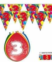Feest 2x 3 jaar vlaggenlijn ballonnen