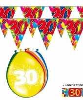 Feest 2x 30 jaar vlaggenlijn ballonnen