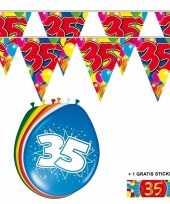 Feest 2x 35 jaar vlaggenlijn ballonnen