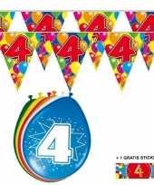 Feest 2x 4 jaar vlaggenlijn ballonnen