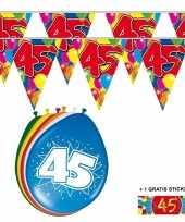Feest 2x 45 jaar vlaggenlijn ballonnen