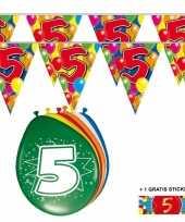 Feest 2x 5 jaar vlaggenlijn ballonnen