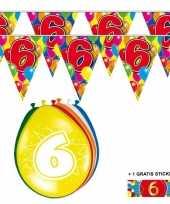 Feest 2x 6 jaar vlaggenlijn ballonnen