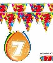 Feest 2x 7 jaar vlaggenlijn ballonnen
