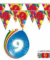Feest 2x 9 jaar vlaggenlijn ballonnen