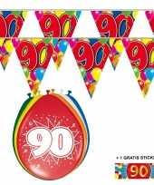 Feest 2x 90 jaar vlaggenlijn ballonnen