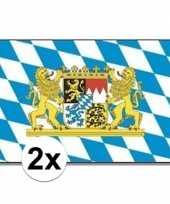 Feest 2x beieren vlaggen blauw wit
