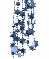 Feest 2x blauwe kerstversiering ster kralenslinger 270 cm