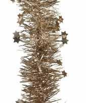Feest 2x bruine kerstversiering folie slinger met ster 270 cm