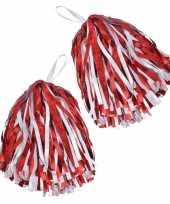 Feest 2x cheerballs pom poms in het rood wit