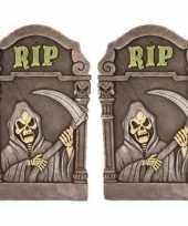 Feest 2x decoratie halloween grafstenen magere hein 60 cm
