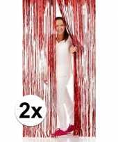 Feest 2x disco folie deurgordijnen rood