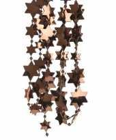 Feest 2x donker bruine kerstversiering ster kralenslinger 270 cm
