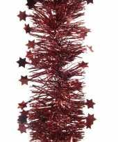 Feest 2x donker rode kerstversiering folie slinger met ster 270 cm
