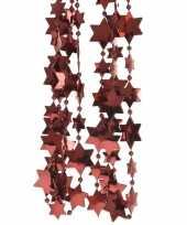 Feest 2x donker rode kerstversiering ster kralenslinger 270 cm