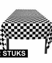 Feest 2x finish tafelkleden zwart wit geblokt 130 x 180 cm
