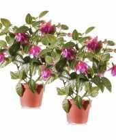 Feest 2x fuchsia kunstplanten donkerroze bloemen in pot 30 cm
