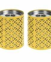 Feest 2x gele kaarshouders met 6 citronella waxinelichtjes