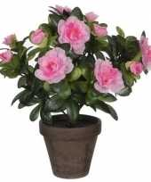 Feest 2x groene azalea kunstplant roze bloemen 27 cm in pot stan grey