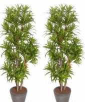 Feest 2x groene dracaena reflexa kunstplanten 120 cm voor binnen