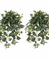 Feest 2x groene hedera helix klimop kunstplanten 65 cm voor buiten