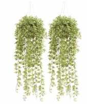 Feest 2x groene hedera klimop kunstplanten 50 cm in hangende pot