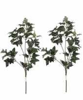Feest 2x groene hedera klimop kunsttakken kunstplanten 55 cm