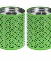 Feest 2x groene kaarshouders met 6 citronella waxinelichtjes