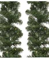 Feest 2x groene kerst dennenslinger guirlande imperial met licht 270cm