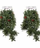 Feest 2x groene kerst slingers guirlandes met rode versiering 270 cm