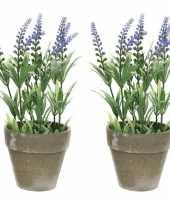 Feest 2x groene paarse lavandula lavendel kunstplant 25 cm in betonpot