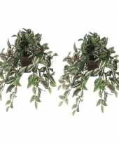 Feest 2x groene tradescantia vaderplant kunstplant 45 cm hangende pot