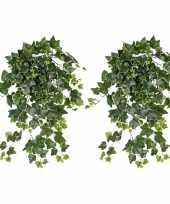 Feest 2x groene witte hedera helix klimop kunstplant 65 cm voor buiten