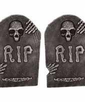 Feest 2x horror decoratie grafstenen rip 50 cm
