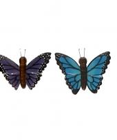 Feest 2x houten dieren magneten blauwe en paarse vlinder