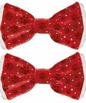 Feest 2x huisdieren kerststrik rood 6 x 13 cm