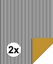 Feest 2x inpakpapier cadeaupapier streepjes 200 x 70 cm zwart wit