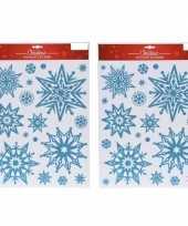 Feest 2x kerst raamstickers raamdecoratie sneeuwvlok plaatjes 10145437