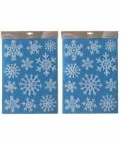 Feest 2x kerst raamstickers raamdecoratie sneeuwvlok plaatjes 30 x 40