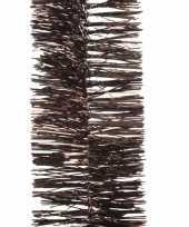 Feest 2x kerstboom folie slinger donkerbruin 270 cm