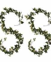 Feest 2x klimop hedera kunstplanten slingers groen 180 cm