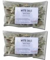 Feest 2x losse witte salie blaadjes zakjes 25 gram